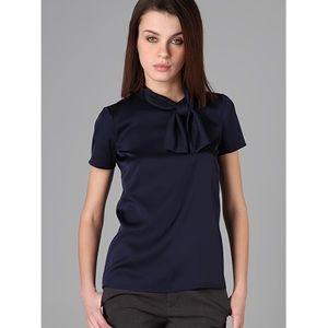 NWT Theory Tyrina bow blouse silky black